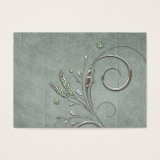 Blue Wood Silver Twirl Vines Business Card