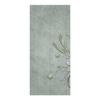 Blue Wood Silver Twirl Vines Custom Rack Card