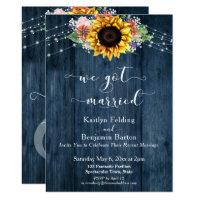 Blue Wood Sunflower Lights We Got Married Invitation