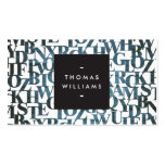 Blue Wooden Abstract Letterforms Authors, Writers Business Card Templates