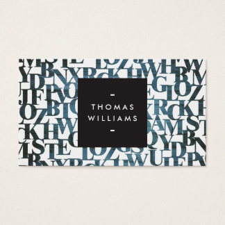 Blue Wooden Abstract Letterforms Authors, Writers Business Card