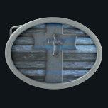 """Blue Wooden Cross Belt Buckle<br><div class=""""desc"""">blue wooden cross</div>"""