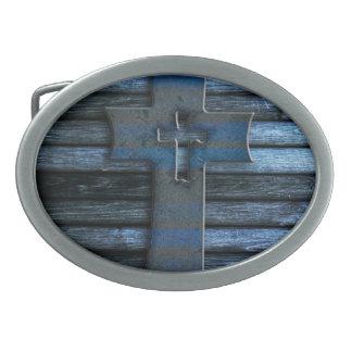 Blue Wooden Cross Belt Buckle