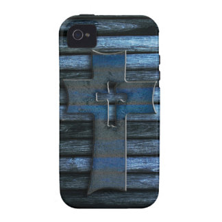 Blue Wooden Cross Vibe iPhone 4 Case