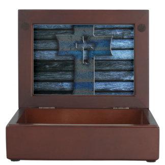 Blue Wooden Cross Keepsake Box