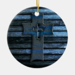 Blue Wooden Cross Double-Sided Ceramic Round Christmas Ornament
