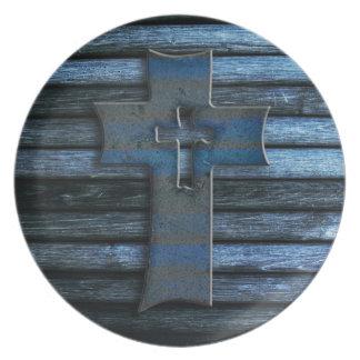 Blue Wooden Cross Plate