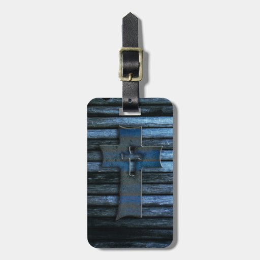 Blue Wooden Cross Travel Bag Tags