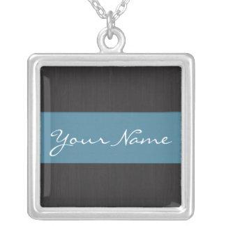 Blue & Woodgrain Customizable Name Necklace