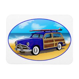 Blue Woodie on Golden Beach Rectangular Photo Magnet