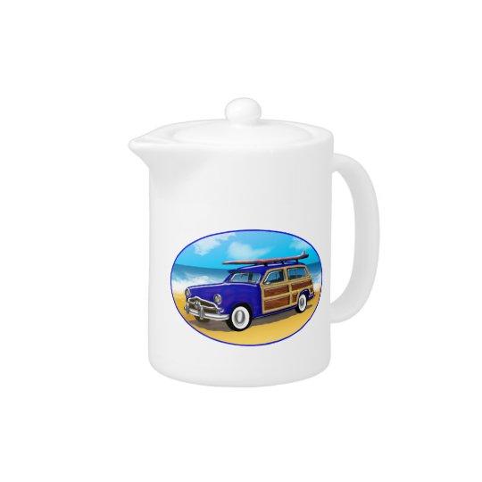 Blue Woodie on Golden Beach Teapot