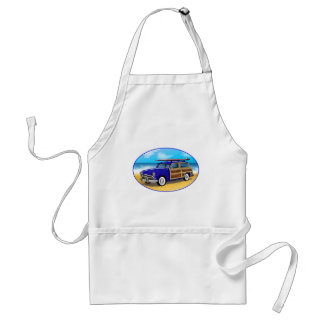 Blue Woodie with Surfboard on the Beach Adult Apron