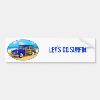 Blue Woodie with Surfboard on the Beach Bumper Sticker