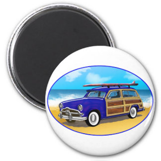 Blue Woodie with Surfboard on the Beach 2 Inch Round Magnet