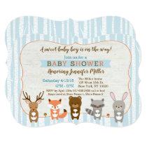 Blue Woodland Animal Baby Shower Die Cut Card