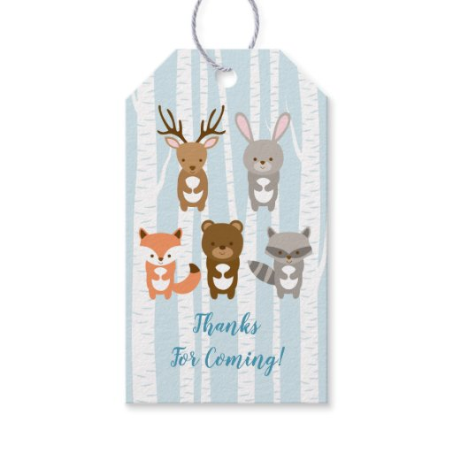 Blue Woodland Animal Baby Shower Gift Tags