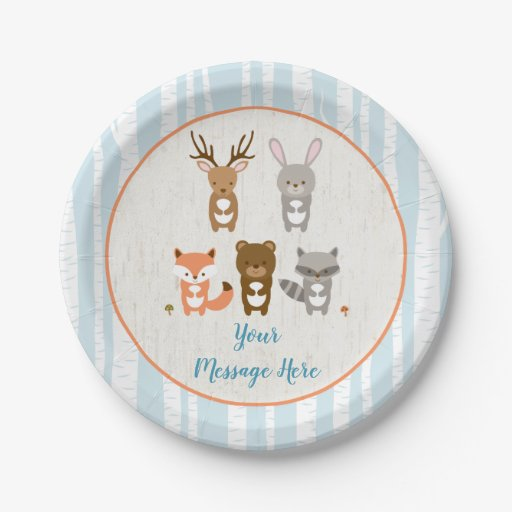 Blue Woodland Animal Baby Shower Paper Plate