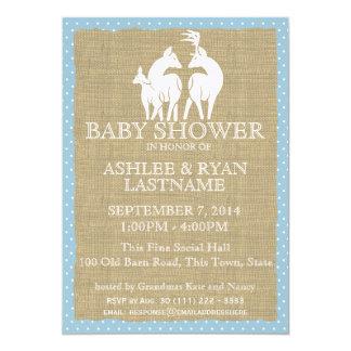 Blue Woodland Baby Shower Deer and Burlap Card