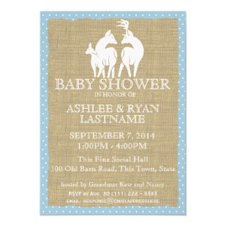 Blue Woodland Baby Shower Deer and Burlap 5x7 Paper Invitation Card