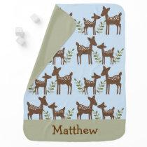 Blue Woodland Deer Baby Blanket