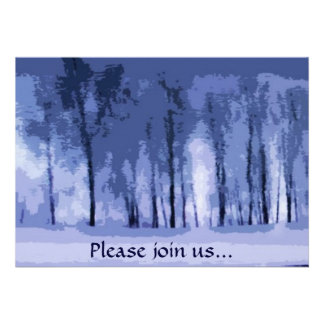 Blue Woods Winter Solstice Party Invitation