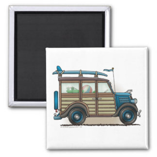 Blue Woody Wagon Magnets
