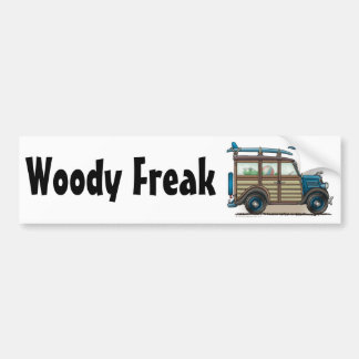 Blue Woody Wagon Woody Freak Bumper Sticker