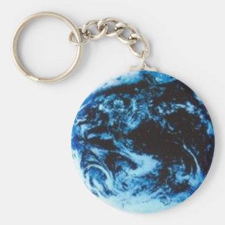 Blue World Basic Round Button Keychain