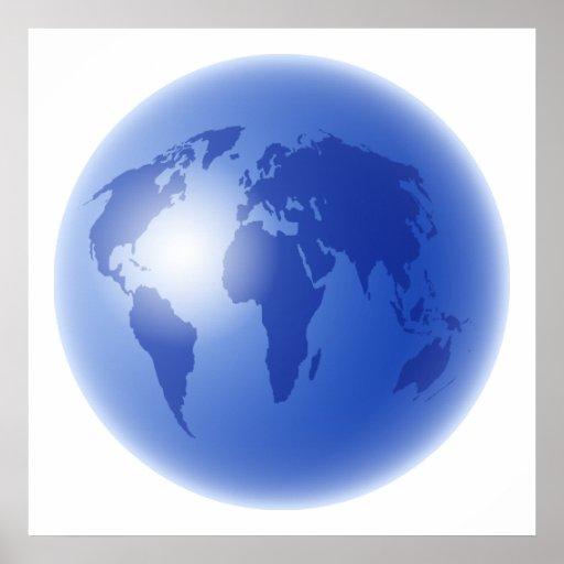 Blue World Globe Poster