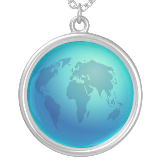 Blue World Globe Silver Plated Necklace