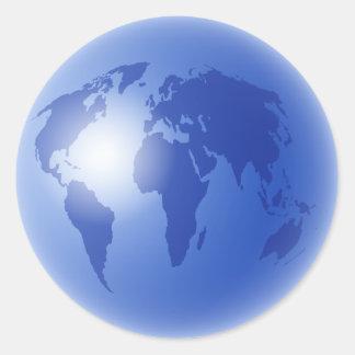 Blue World Globe Sticker