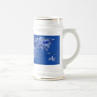 Blue world map beer stein