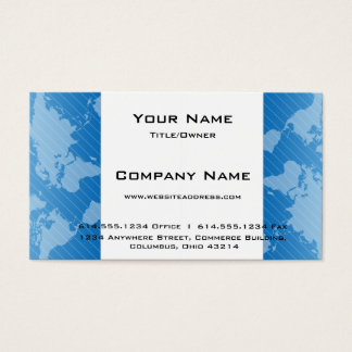 Blue World Map D3 Modern Business Card