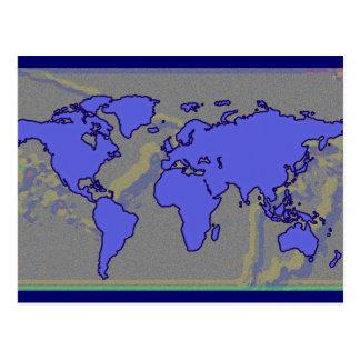 blue world map graphic postcard