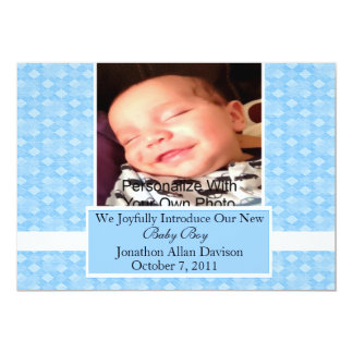 Blue Woven Baby Announcement