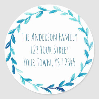 Blue Wreath Address Classic Round Sticker