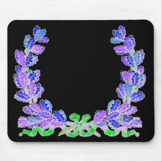 Blue wreath on a black background mousepads