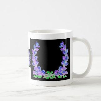 Blue wreath on a black background classic white coffee mug