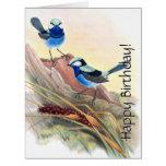 Blue Wren Birds Floral Wildlife Flowers Birthday Card