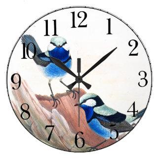 Blue Wren Birds Wildlife Animals Wall Clock