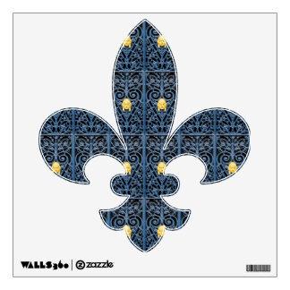 Blue Wrought Iron Fleur de Lys Wall Decal