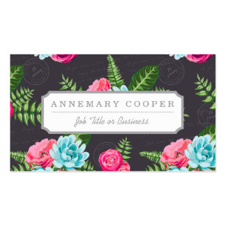 Blue X Pink Flowers Business Card