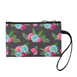 Blue X Pink Flowers Coin Purse