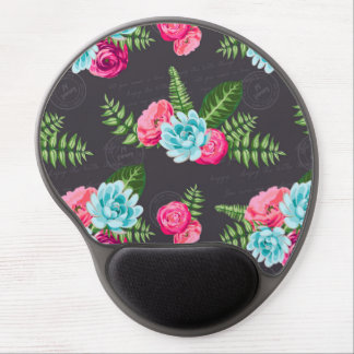 Blue X Pink Flowers Gel Mouse Pad