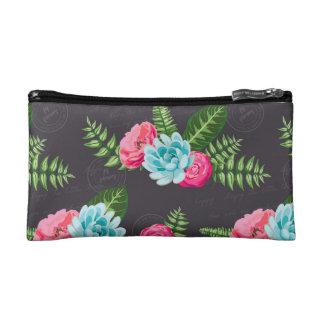Blue X Pink Flowers Makeup Bag
