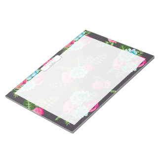 Blue X Pink Flowers Notepad