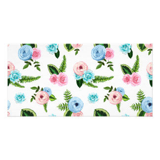 Blue X Pink Flowers on White #2 Card