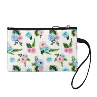 Blue X Pink Flowers on White #2 Change Purse