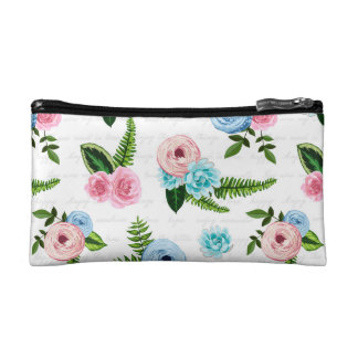 Blue X Pink Flowers on White #2 Cosmetic Bag