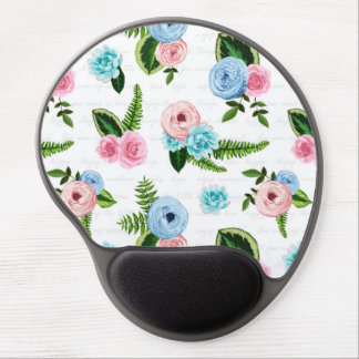 Blue X Pink Flowers on White #2 Gel Mouse Pad
